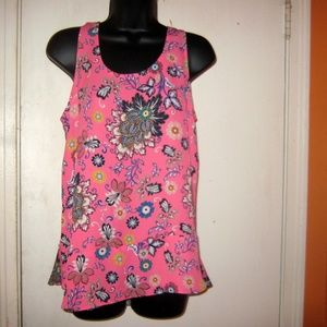 Loft sleeveless Small Pink floral Blouse